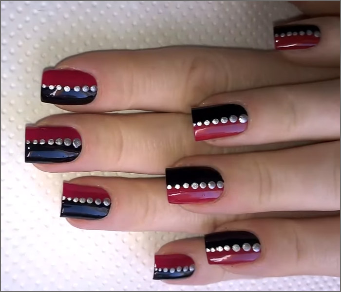 Party Perfect Pink And Black Nail Art