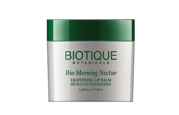 Best Lip Balms For Dry Lips - 2. Biotique Morning Nectar Lightening Lip Balm SPF 30