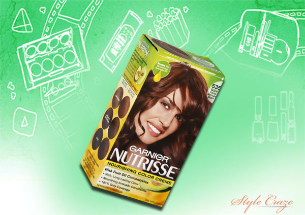 garnier nutrisse shade 535 medium golden mahogany brown (chocolate caramel)