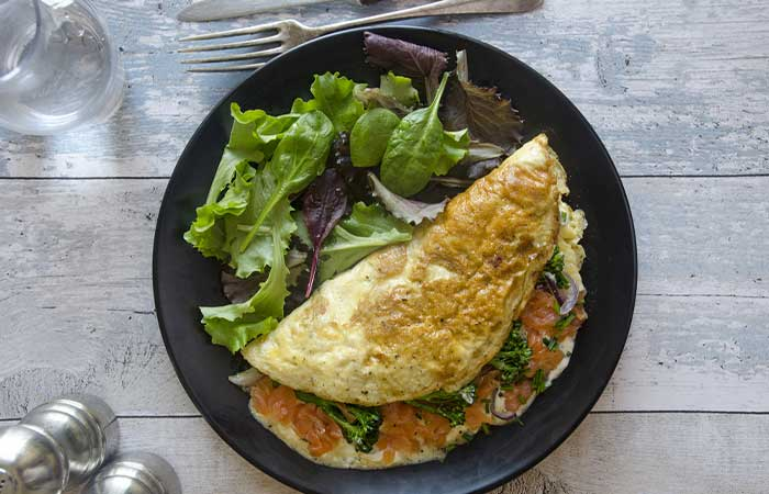 High-protein Herby Salmon Omelette