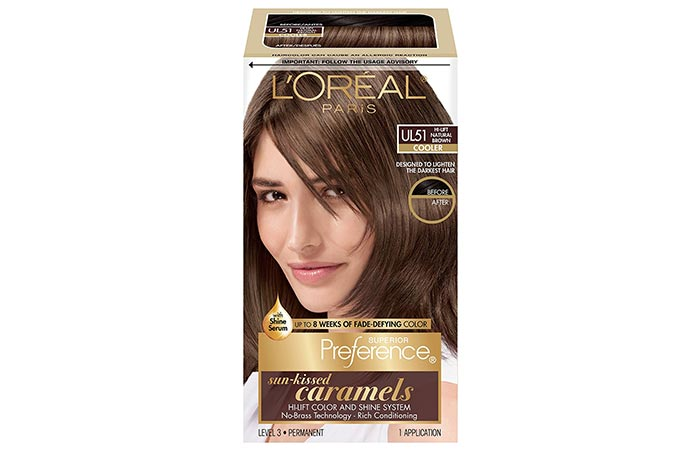L'Oreal Paris Superior Preference Sun-Kissed Caramels Hi-Lift Color – UL51 Hi-Lift Natural Brown (Cooler)