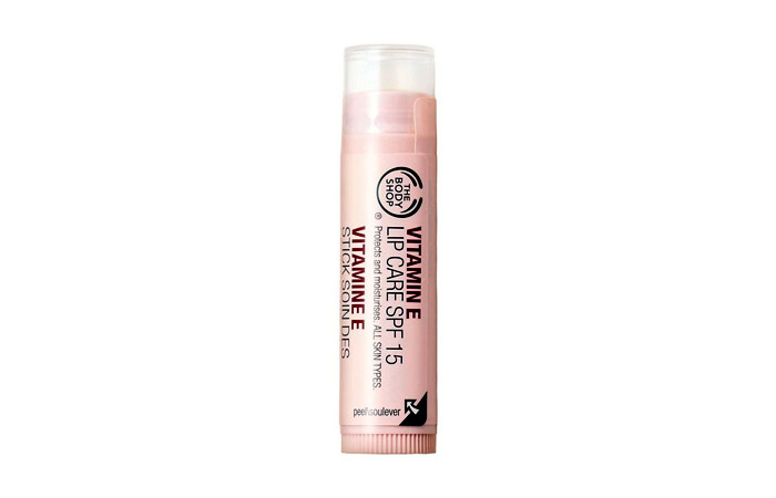 Best Lip Balms For Dry Lips - 1. The Body Shop Vitamin E Lip Care with SPF 15