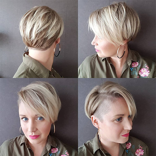 Undercut Bob With Side Swept Bangs