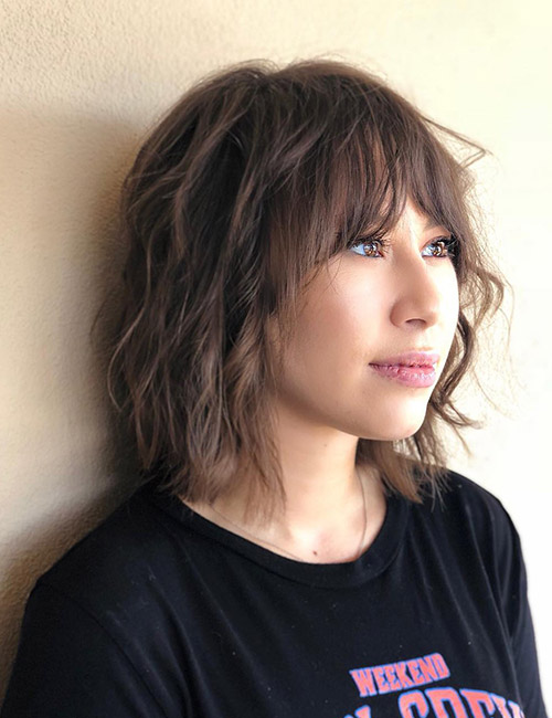 Wavy Shaggy Bob With Tapering Bangs
