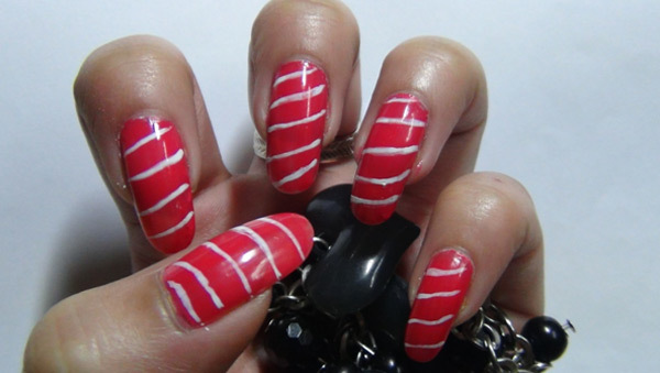 Pink Trendy Criss-Cross Nail Art Tutorial - Step 3