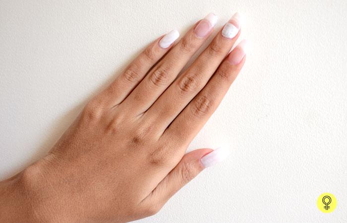 hite nail polish on the nails