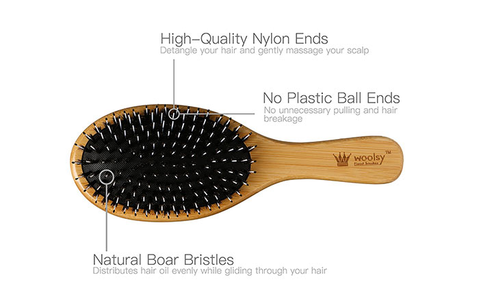 12. Woolsy Boar Bristles Hair Brush