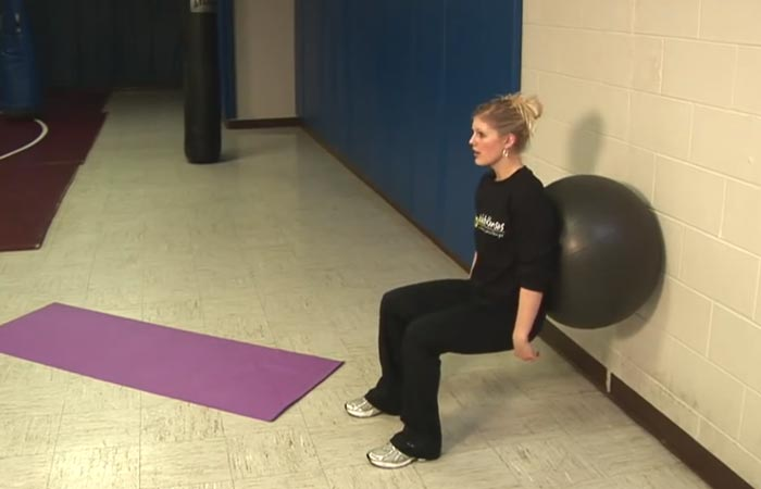 Swiss Ball Exercises - Swiss Ball Wall Squat