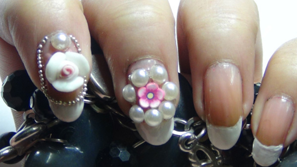 3d flower nail art five
