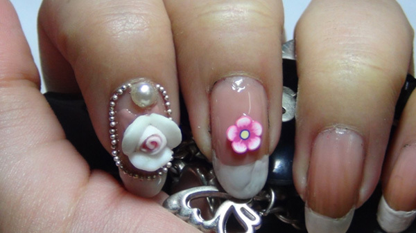 3d flower nail art four