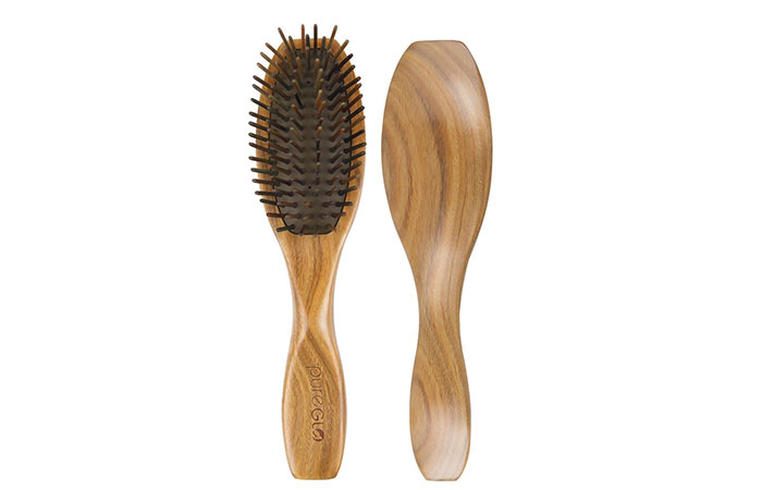 6. PureGlo Natural Green Sandalwood Hair Brush