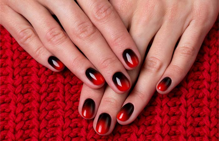 Deep Red And Black Ombre Nails