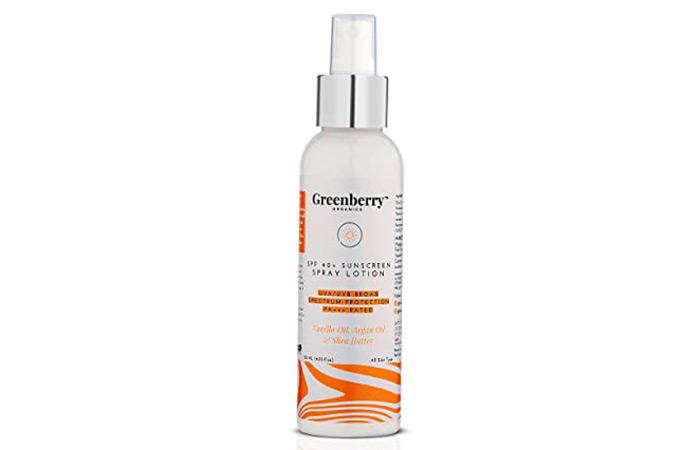 Greenbery Organics SPF 40+ Sunscreen Spray Lotion