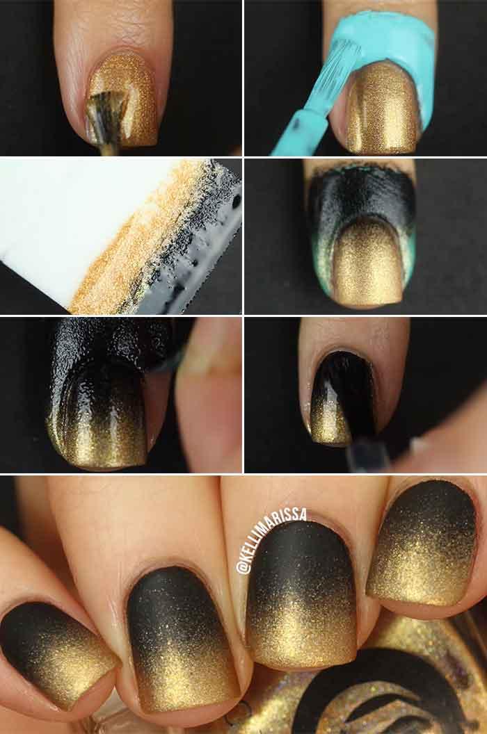 Metallic Ombre Nail Design