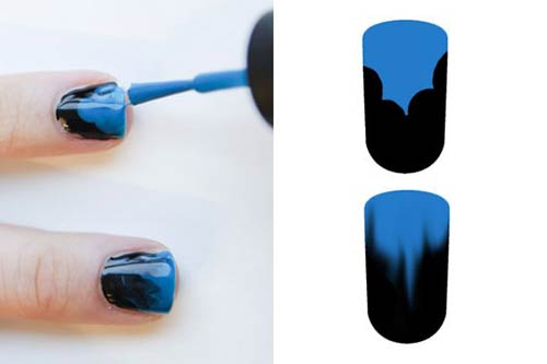 No Sponge Blue And Black Ombre Nails
