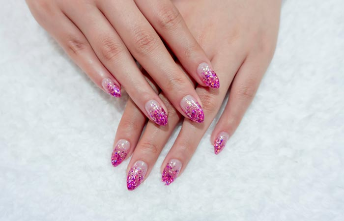 Silver And Pink Glitter Ombre Nails