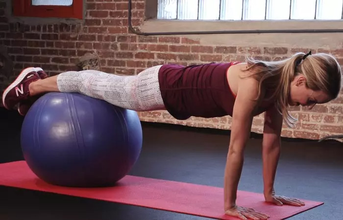 Swiss Ball Decline Plank