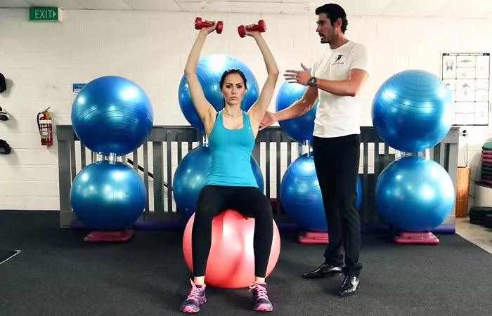 Swiss Ball Dumbbell Shoulder Press
