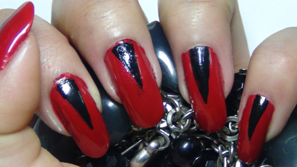 easy classy red and black nail art