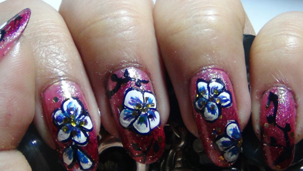 hand painted nail art seven