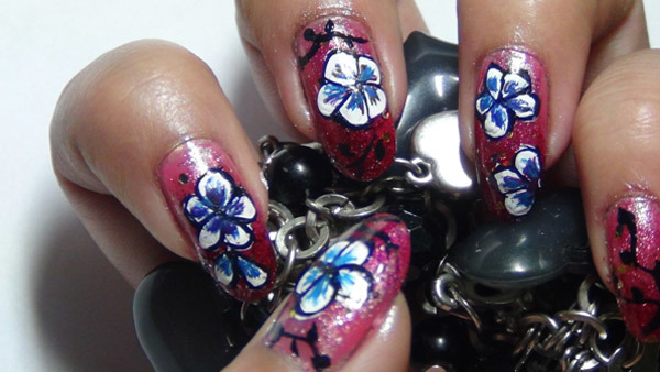 hand painted nail art six