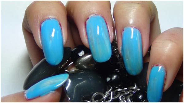 light blue colored nail polish
