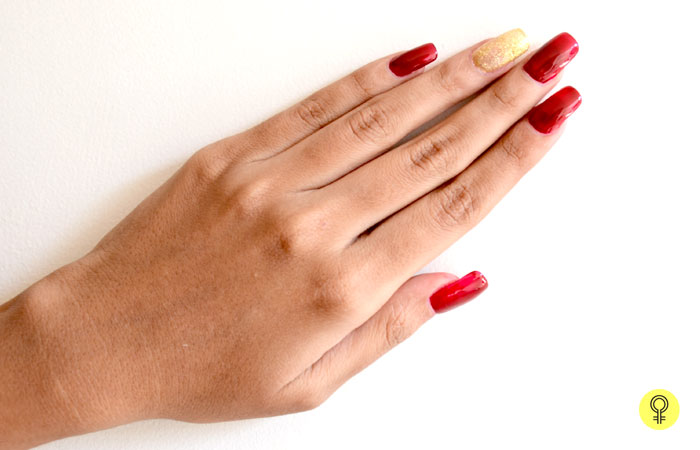 1. Apply Maroon and Golden Glitter Nail Polishes