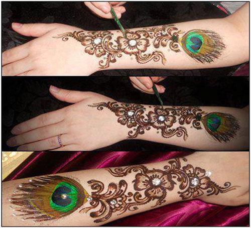 this bombay style mehndi design is specially etched keeping the valentines day theme in mind it is based on the peacock feather pattern which is a