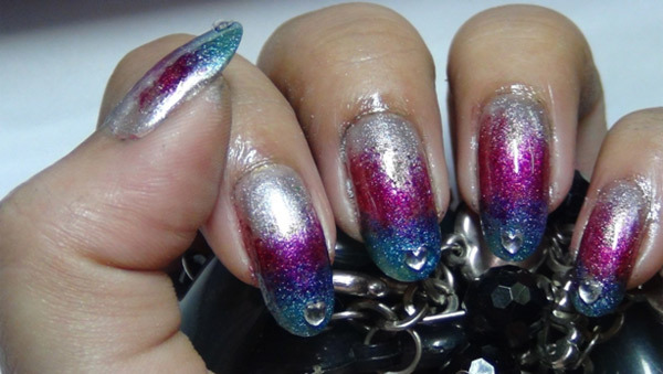 metallic ombre nails four