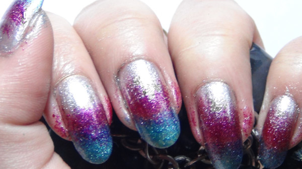metallic ombre nails three