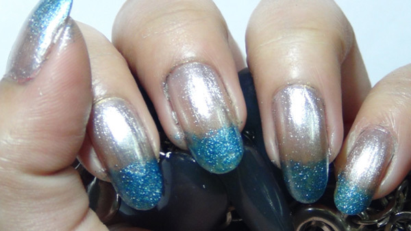 metallic ombre nails two