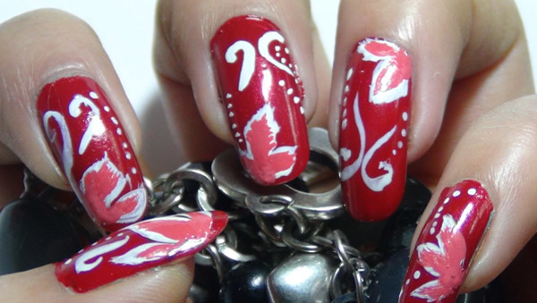 red floral nail art five