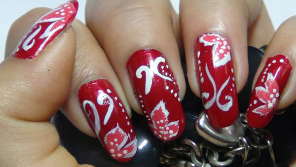 red floral nail art six