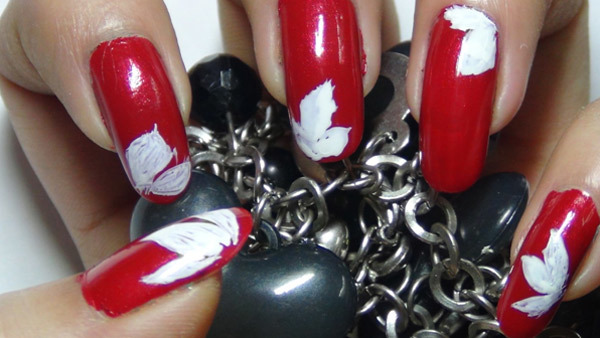 red floral nail art three