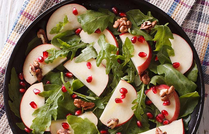 Vegetarian Salad Recipes - Apple Pomegranate Salad With Spicy Honey Dressing