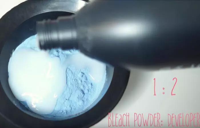 Mix The Bleach Powder And Developer