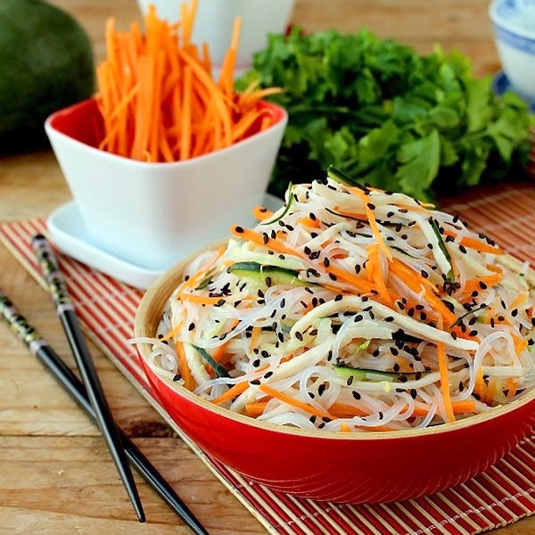 Chinese Salad Recipes - Vegan Rice Noodle Chinese Salad