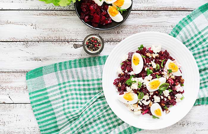 Cobb Salad Recipes - Cobb Salad With Eggs, Beets, And Spicy Sweet Mustard Dressing
