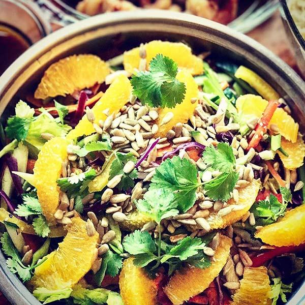 Chinese Salad Recipes - Sesame-Miso Shrimp Chinese Salad