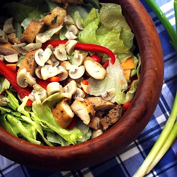 Chinese Salad Recipes - Grilled Mushroom And Chicken Chinese Salad