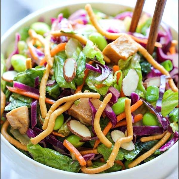 Chinese Salad Recipes - Tofu Crispy Noodle Chinese Salad