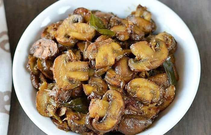 Mushroom Recipes - Mushroom Poriyal