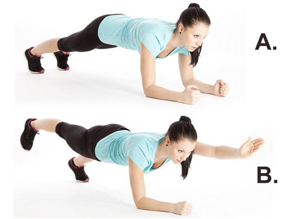 Stomach Exercises - Plank with Opposite Arm and Leg Raise