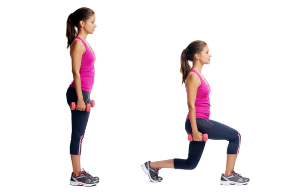 Exercises For Toned Buttocks - Walking Dumbbell Lunge