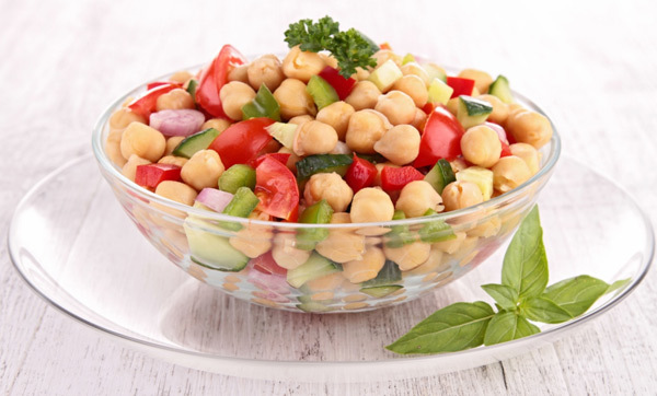 chickpea and tomato-salad with fresh basil