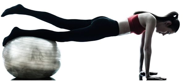 push up with leg lift on stability-ball