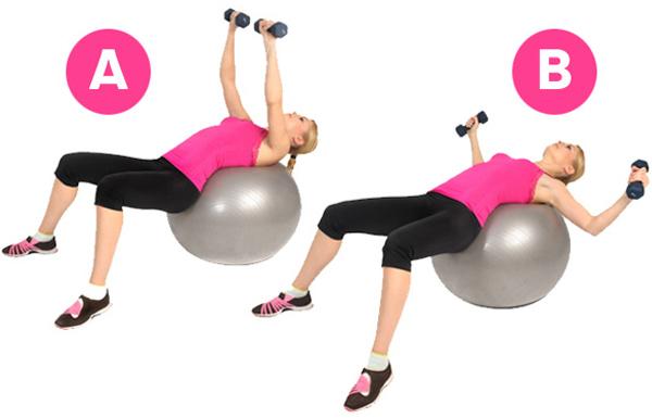 swiss ball chest press