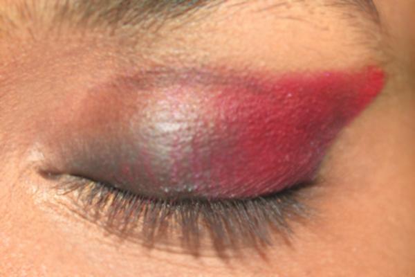 Gujarati Bridal Makeup - Step 3: Apply Red Colored Eyeshadow