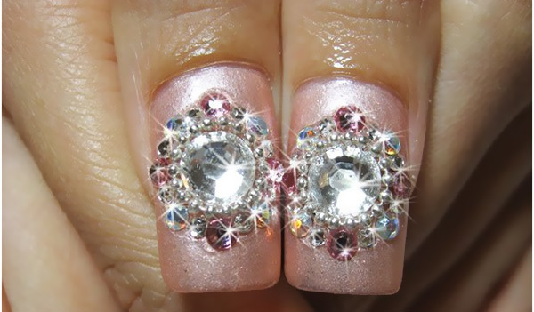Diamond Shaped Rhinestone Nail Art