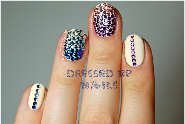 Best Rhinestone Nail Art Designs - Gradient Rhinestone Nail Art